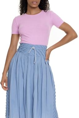 Camiseta Canelada Cropped Rosa - DG15355