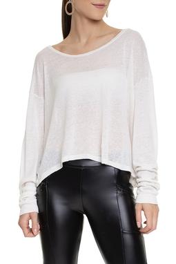 Camiseta Manga Longa Linho Off White - DG15375