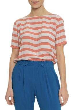 Camiseta Seda Listrada Bolso - DG16906