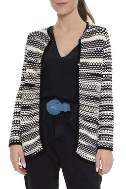 Casaco Crochet Listrado P&B - DG15959