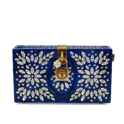 Clutch Azul Cristais Cravejados