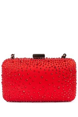 Clutch Cetim de seda com pedras brilhantes vermelhas