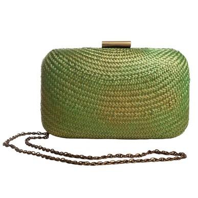 Clutch de Palha Trançada Verde e Dourada Serpui Marie