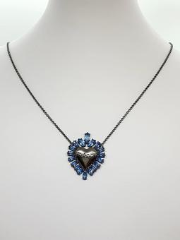 Colar Heart Ouro Negro Cristal AgMarinha