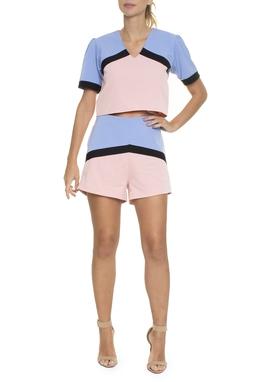 Conjunto Blusa e Shorts Tricolor - DG16626
