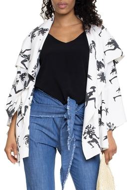 Kimono Branco Estampa Preta - DG15684