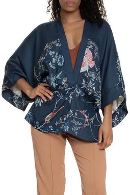Kimono Estampado De Flor Passaros - DG15562