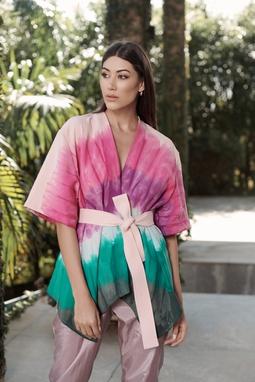 Kimono Pintura A Mão Tie Dye