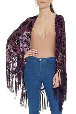 Kimono Roxo Estampado Com Franjas - DG15328