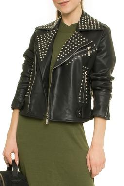 Leather Denim Stud Perfecto Jacket - 52I1682