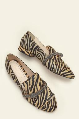 Loafer Fringe Glam Zebra Camel