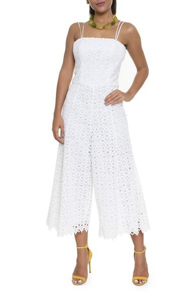 Macacão Pantacourt Branco Decote Reto - DG16444 Curadoria Dress & Go