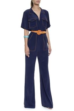 Macacão Seda Azul Marinho Costura Contraste - DG16332