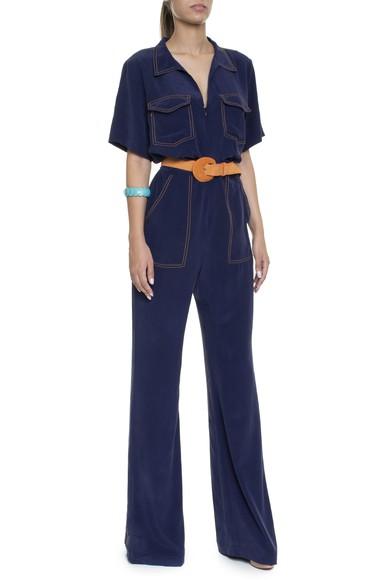 Macacão Seda Azul Marinho Costura Contraste - DG16332 A. Brand