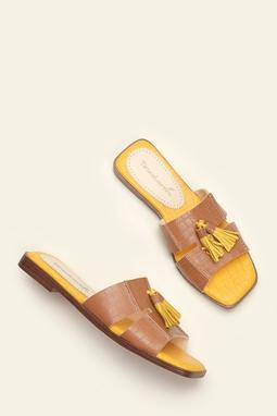 Mule Slide Tassel camel
