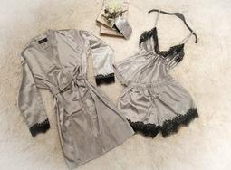 Pijama Baby Doll Enc Prata
