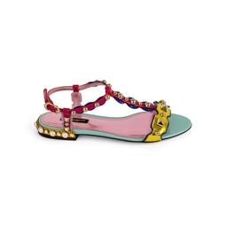 Sandália Rasteira T-bar Multicolor
