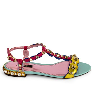 Sandália Rasteira T-bar Multicolor Dolce & Gabbana