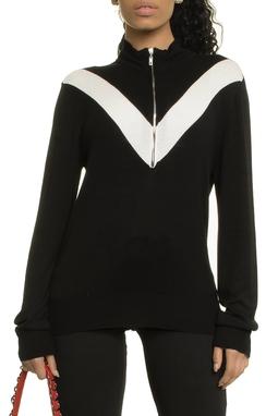 Ribbed Lurex Chest Zipper Sweater Ml - 50H282