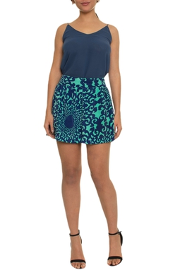 Saia Curta Seda Verde Azul - DG16907