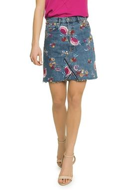 Saia Jeans Bordado Floral - DG17333