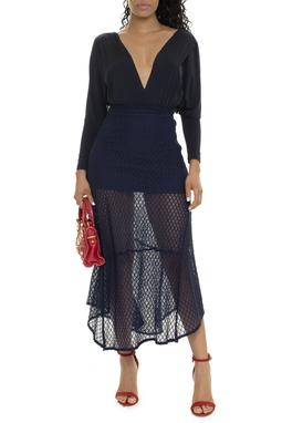 Saia Longa Crochet Transparência - DG15774