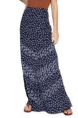 Saia Longa Estampada Floral Azul Marinho - DG15557