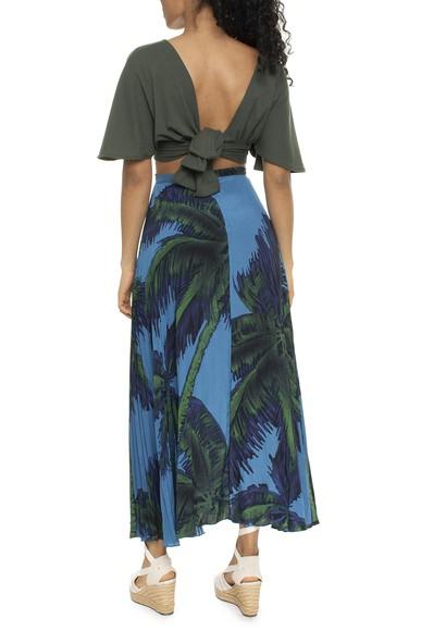 Saia Midi Seda Plissada Azul Coqueiros - DG16260 Curadoria Dress & Go