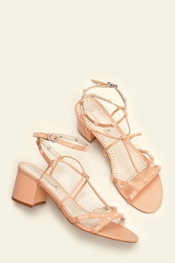 Sandália Gladiadora Spikes Peach