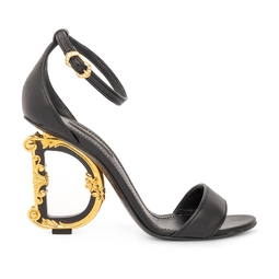 Sandália Preta Salto Barroque - Dolce & Gabbana