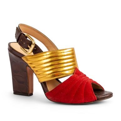 Sandalia Salto Alto Dourada Vermelha - DG13039 Luiza Barcelos