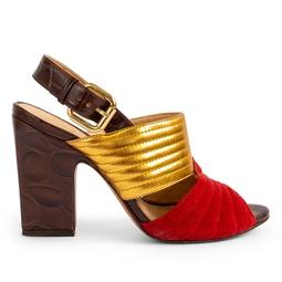 Sandalia Salto Alto Dourada Vermelha - DG13039