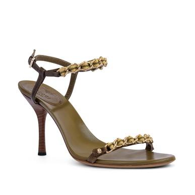 Sandália Verde Musgo Com Correntes - DG15485 Gucci