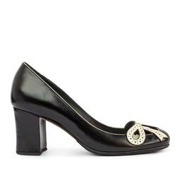 Sapato Preto Detalhe Laço Branco - DG15605