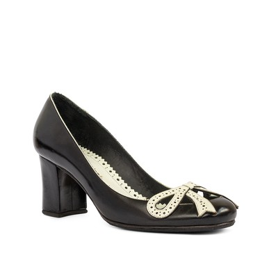 Sapato Preto Detalhe Laço Branco - DG15605 Sarah Chofakian
