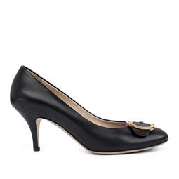 Sapato Preto Fechado Com Fivela Dourada - DG15950