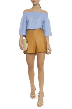 Shorts Couro Cintura Alta Faixa  - DG14744