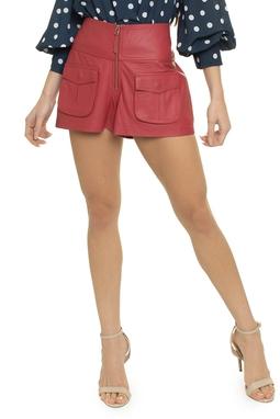 Shorts Couro Ziper Bolsos - DG14741