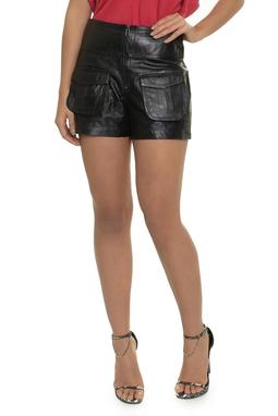 Shorts Couro Ziper Bolsos - DG14742