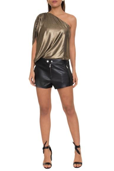 Shorts curto couro liso com ziper nos bolsos da frente lateral de suede - DG16052 Animale