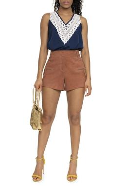 Shorts Suede Cintura Alta  Ziper Nos Bolsos - DG16349