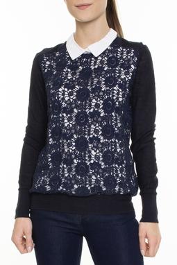Suéter Azul Marinho Com Gola Branca - DG15432