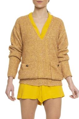 Suéter Tricot ML Bolsos Aplicações - DG16098