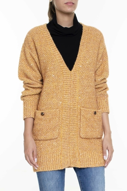 Suéter Tricot ML Bolsos Frente Dourada Aplicações - DG16098