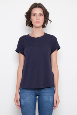 T-Shirt Algodão Egipcio Bordada Marinho