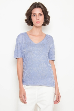 T-Shirt Trt Jacquard Azul