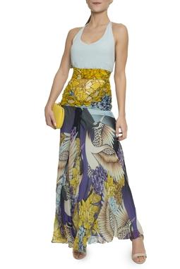 Vestido Azul Amarelo Estampa - DG14337