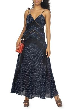 Vestido Azul Marinho Poá