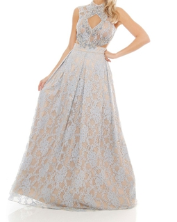 Vestido Azul Pastel Renda Bordado