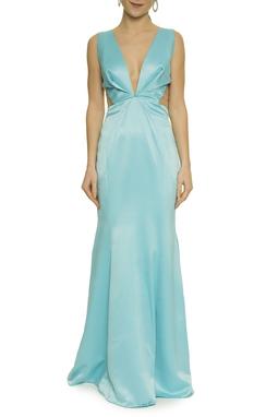 Vestido Azul Recorte Tule - DG17626